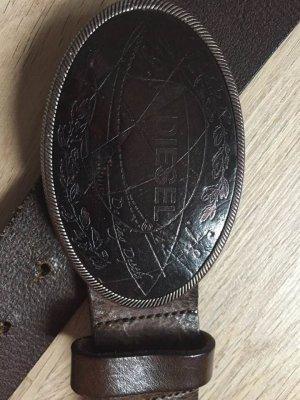 Diesel Cinturón de cuero marrón oscuro Cuero