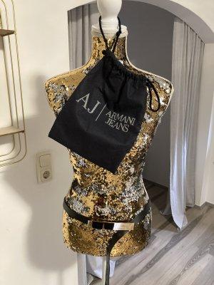 Armani Jeans Ceinture en cuir noir-doré