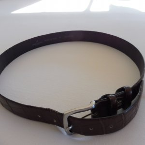 Daniel Hechter Leather Belt dark brown-silver-colored leather