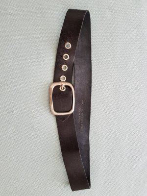 Mango Leather Belt black-silver-colored leather