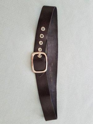 Mango Cintura di pelle nero-argento Pelle