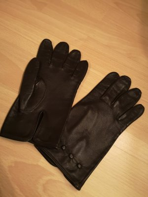 Leather Gloves black-taupe