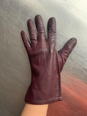 Guantes de cuero rojo zarzamora-violeta amarronado