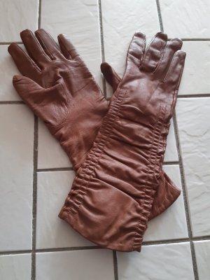Gants en cuir brun
