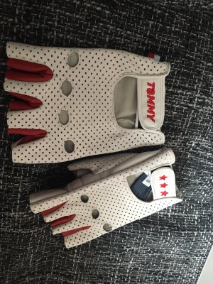Gigi Hadid x Tommy Hilfiger Leren handschoenen wit-donkerrood