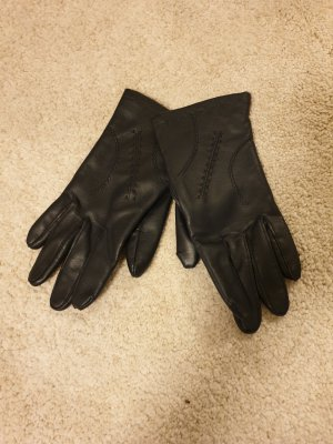 no name Leather Gloves dark blue