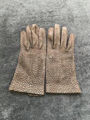 Leather Gloves dark brown-cognac-coloured