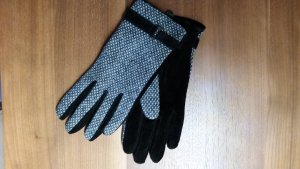 Leather Gloves black-grey leather