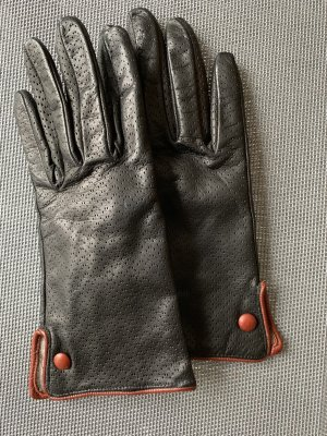 0039 Italy Leather Gloves black-brown leather