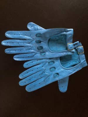 Gloves neon blue leather