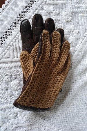 Unbekannte Marke Gants en cuir brun