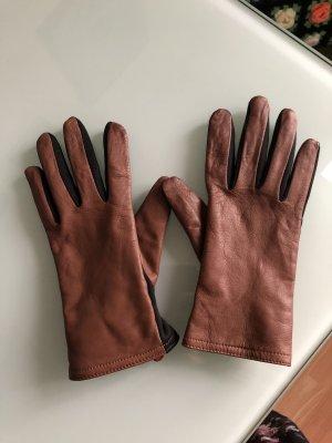 Leren handschoenen zwart-lichtbruin