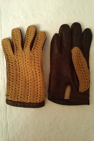 Leather Gloves brown-camel leather