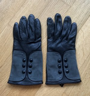 alexandra bartlett Guantes de cuero negro-gris oscuro