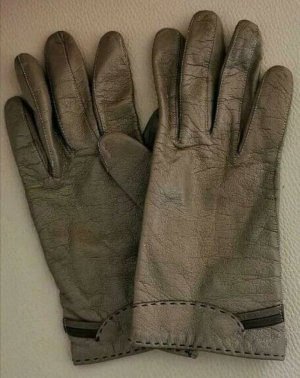 held Leather Gloves beige