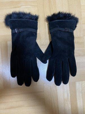 Leren handschoenen zwart-zilver
