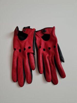 Guantes de cuero negro-rojo oscuro