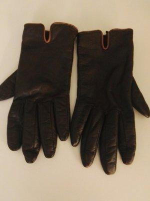 Guantes de cuero marrón oscuro