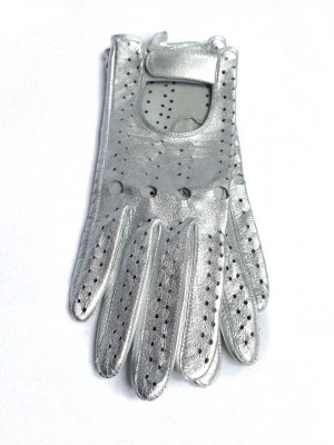 Faux Leather Gloves silver-colored