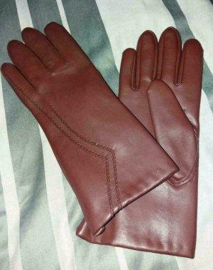 Leren handschoenen karmijn Leer