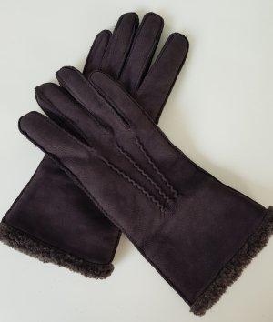 Rękawiczki skórzane czarno-brązowy