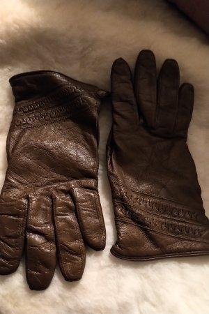 Leren handschoenen brons-bruin