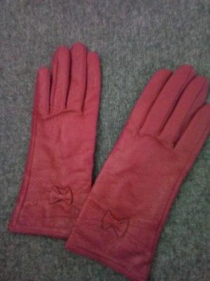 YSTRDY Leren handschoenen magenta