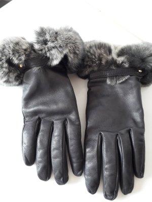 Guantes de cuero gris antracita-taupe Cuero
