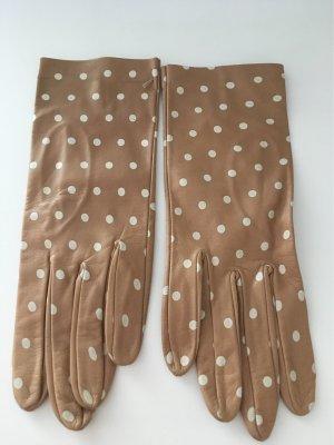 Leren handschoenen camel-wolwit