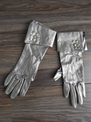 Miss Sixty Guantes de cuero color plata
