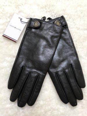 Tommy Hilfiger Rękawiczki skórzane czarny-złoto