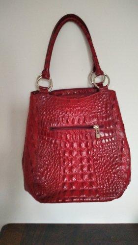 Lederhandtasche in Krokoprägung