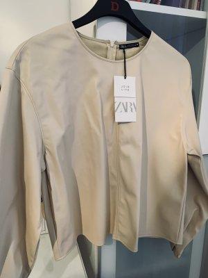 Zara Skórzana koszula kremowy-jasnobeżowy
