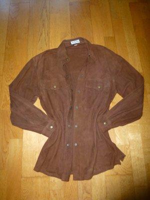 Blusa de cuero marrón