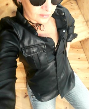 Leather Blouse black-silver-colored imitation leather