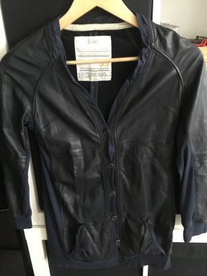 Vintage Leather Shirt dark blue leather