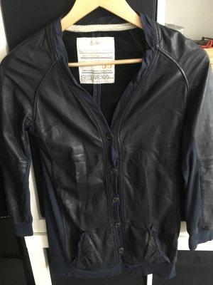 Vintage Leren shirt donkerblauw Leer