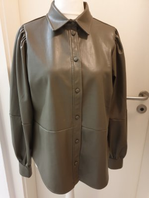 H&M Leather Shirt olive green