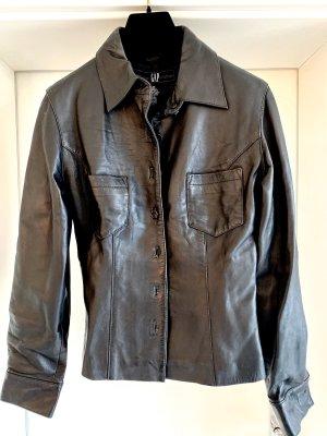 Lederhemd - tailliert - schwarz