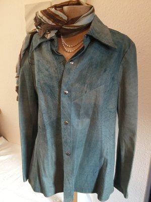 Lederhemd, türkis-blau in Gr. 38