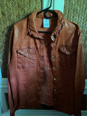 True Religion Leather Shirt brown red