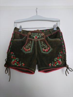 Krüger Pantalone in pelle tradizionale talpa-marrone-grigio Pelle