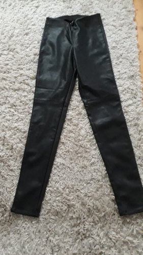 H&M Divided Leather Trousers black