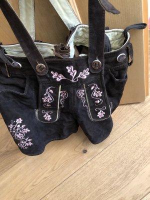 alm sach Tradycyjne skórzane spodnie ciemnobrązowy