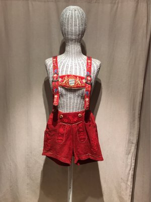 Country Maddox Pantalón de cuero tradicional rojo-rojo oscuro