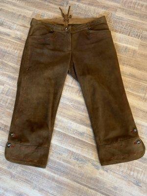 Spieth & Wensky Pantalone in pelle tradizionale marrone-rosso scuro