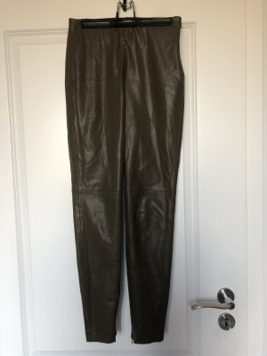 Zara Leather Trousers khaki
