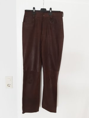 Maddox Leather Trousers cognac-coloured