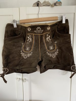 Stockerpoint Pantalone in pelle marrone scuro-beige chiaro