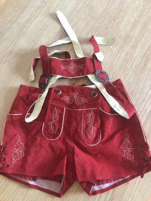 Pantalone in pelle tradizionale rosso scuro